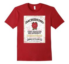 Men's Dachshund Wiener Dog Whiskey Label Wiener Dog Shirt Small Cranberry