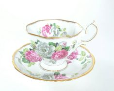 Vintage Rose Teacup, Royal Albert Evening Rhapsody, Cup and Saucer