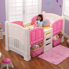 Step2 Twin Low Loft Bed with Storage Color: White/Pink