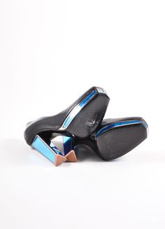 Yves Saint Laurent Black and Blue Leather Mirror Heel Platform Pumps Outsoles