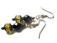 Amber Earrings Black Czech Glass Earrings Copper by chicagolandia, $16.00