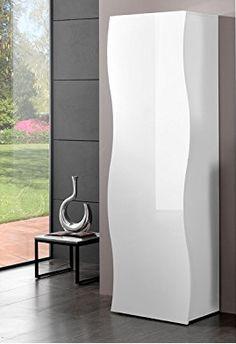 Toller Designerschrank in weiss #weiss #schrank #wellen #glanz #Wohnzimmer #wohnen #haus #wohnung