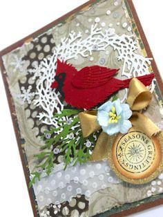 Christmas Handmade Card, Cardinal, Seasons Greetings, Snow, Winter Wonderland