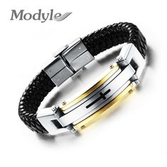 Fashion Men Jewelry Gold / Platinum Plated Male Cross Weave Geniune Leather Stainless Steel Cross Bracelets Bangle