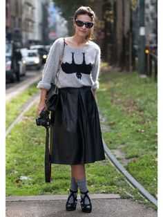Milan Fashion Week Street Style Spring 2013 - check out the bat sweater. *grin*