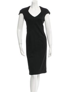 Black Zac Posen textured sheath dress with V-neck, cap sleeves, tonal contour…