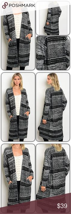 """Chic Cozy Warm Relaxed Knit Cardigan Sweater SML So darling, warm & cozy!  Love this longer length, relaxed fit knit cardigan with pockets. So chic & perfect length for leggings!!!  Black, gray & white 100% acrylic.  S/M Bust 40"""" Length 40""""  M/L Bust 41"""" Length 41""""  • Bundle & Save • Top Rated Seller • Fast Shipping Sweaters Cardigans"""