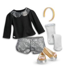 She sparkles from head to toe and will be ready to shine for any party or performance in this fun outfit! Includes: •A long-sleeved black top with a Peter Pan faux-collar of silver-colored sequins • L