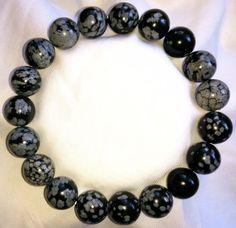 Natur-Schneeflocke-Obsidian-Heilstein-Perlen-Armband-10mm