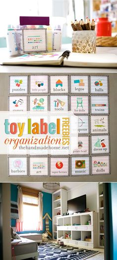 Toy label organization freebies. Organize your kid's toys in the playroom, bedroom or living room.