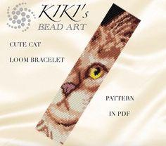 Bead Loom pattern Cute cat LOOM bracelet cuff PDF pattern
