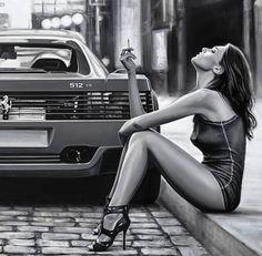 """Miss Ferrari ( details ) Oil on canvas Artist 🖌 Sexy Cars, Hot Cars, Car Poses, Pin Up, Foto Art, Hot Rides, Car Girls, Car Photography, Car Show"