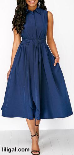 Turndown Collar Tie Waist Navy Button Front Dress   #liligal #dresses #womenswear #womensfashion