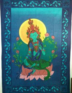 Green Tara wall tapestry. Green Tara, Buddhism, Compassion, Wall Tapestry, Zen, Statue, Painting, Mandalas, Painting Art