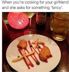 "When you're cooking for your girlfriend and she asks for something ""fancy"" (Funny Relationship Pictures) - nuggets Cooking Meme, Food Meme, Funny Food, Cooking Videos, Cooking Recipes, Funny Relationship Memes, Memes About Relationships, Relationship Pictures, Relationship Advice"