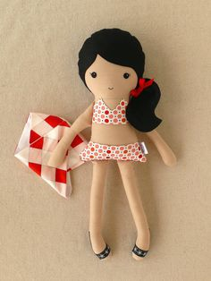 Cloth Doll Fabric Doll in Swimsuit with Sarong by rovingovine,