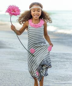 Look at this Pink & Gray Stripe Rosette Maxi Dress - Toddler & Girls by Mia Belle Baby Little Girl Fashion, Kids Fashion, Toddler Girl Dresses, Toddler Girls, Baby Couture, Sweet Dress, Rosettes, Grey Stripes, Pink Grey