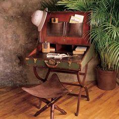 HA! here it is... the mobile office! Safari Travel Desk. The stool could go inside along the desk legs