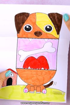 Surprise Big Mouth Dog Printable Craft for Kids This time around we are sharing a fun Surprise Big Mouth Dog Printable for Kids with you all, that most will most certainly entertain dog lovers and others alike. Diy Projects Videos, Projects For Kids, Art Projects, Dogs And Kids, Animals For Kids, Diy Crafts For Kids, Arts And Crafts, Dog Crafts, Puppet Crafts