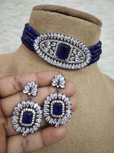 Diamond Choker Necklace, Necklace Set, Earrings, Kundan Bangles, Black Polish, Necklace Designs, Indian Jewelry, Wedding Accessories, Fashion Necklace