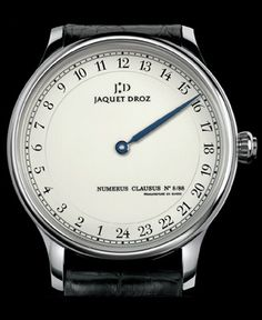 """24 hour watch. Jaquet Droz 2008  Power-Reserve: 68 hours Time display: 24 hour Dial colors: ivory colored """"grand feu"""" enameled dial, hand crafted, individual limited series number painted on the dial Text on dial: Jaquet Droz, Logo, Numerus Clausus, manufacture en Suisse Case: 18kt white gold, individual series number engraved on the case-back Water Resistance: 30m Hands: blued steel Strap: black alligator leather Buckle: 18kt white gold ardillon Limited: 88"""