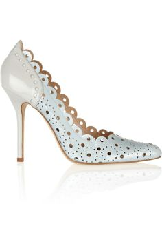 Perforated two-tone patent-leather pumps by Oscar de la Renta - Found on HeartThis.com #HeartThis