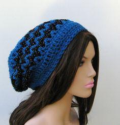 Sapphire Zig Zag Tam Hippie Dreadlock Hat by PurpleSageDesignz