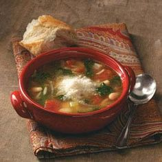 Italian Bean Soup Recipe from Taste of Home -- shared by Gilda Lester, Millsboro, Delaware  #quick