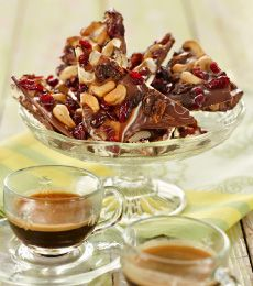 Fruit and Nut Chocolate Bark - Make and serve this fruity chocolate bark with coffee after a meal or wrap and give as a gift.