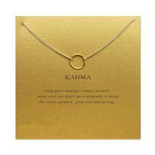 Karma duplo círculo cadeia colar banhado a ouro 14 k ouro pingente colares moda correntes clavícula declaração colar de jóias mulheres(China (Mainland))
