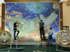 Wallsized USSR Map Made Of Gemstones - This unique map is located in the geological museum of Saint-Petersburg. It is made from gemstones in the Florentine and Russian mosaic technique. 45 000 gemstones 4-6 mm (0.15-0.23 inches) thick were used to make the panel of the map.  The size of the map is twenty seven square meters, it is made from 50 000 fragments. The gemstones were being chosen to match the colors and sizes.