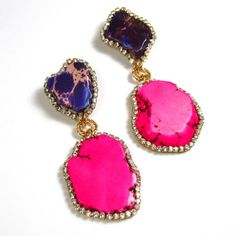 Statement Earrings Stone color Fuchsia Violet dangle chandelier drop stone Swarovski crystal earrings