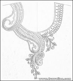 neck design for embroidery/neck patterns for embroidery/neck design for hand embroidery Top 5 patterns pencil sketch on tracing paper . Hand Embroidery Design Patterns, Embroidery Suits Design, Flower Embroidery Designs, Bead Embroidery Jewelry, Embroidery Fashion, Fabric Jewelry, Lace Patterns, Beaded Embroidery, Churidar Neck Designs