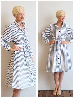 1980s Dress // Perfect Striped Shirt Dress // vintage 80s dress on Etsy, $62.00