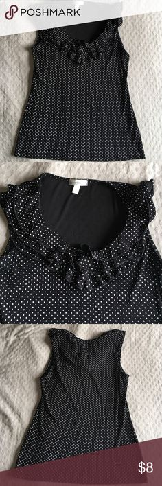 Black polka dot top with ruffle Super flattering black polka dot top with ruffle around top. Stretchy nylon material. Tops Blouses