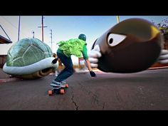 Mario Kart Skate (60 fps!) - A skateboarder dressed as Luigi collects coins and outruns turtle shells in Mario Kart spoof YouTube