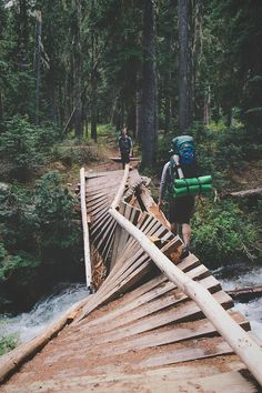 Troubled bridge over water, North Cascades NP ➾ Jayme Gordon