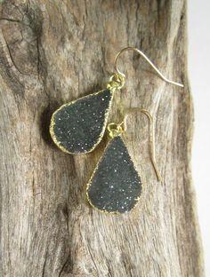 Druzy Earrings Druzy Quartz Teardrops 14K Gold by julianneblumlo