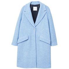 Lapels Wool Coat (£80) ❤ liked on Polyvore featuring outerwear, coats, fur-lined coats, wool coats, blue wool coat, lapel coat and mango coats