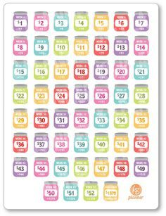 One 6 x 8 sheet of REVERSE 52 (+ a bonus Challenge Complete) week savings challenge planner stickers cut and ready for use in your Erin Condren life Mehr 52 Week Savings Challenge, Money Saving Challenge, Money Saving Tips, Money Tips, Managing Money, 365 Penny Challenge, Money Budget, Savings Planner, Financial Planner