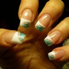 nail art design , french green glitter