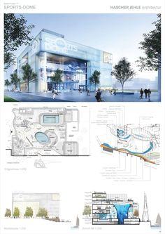 1. Preis Baakenhafen 83a - Sports-Dome...competitionline Halle, Urban Design Diagram, Sport Hall, Wellness Center, Layout Design, Imagination, Theater, Floor Plans, Golf