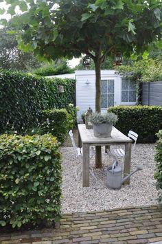 Leuk de verdeling van de tuin, doormiddel van lage heggen.