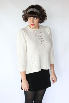 Vintage 80s Ivory Cut Out Swing Sweater // Soft Winter White Holiday Top. $44.00, via Etsy. #style #fashion #vintage #vintagestyle #winterstyle #holidaystyle #holiday