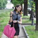 Black Dress & Denim Jacket  , Rinascimento in Dresses, Pull   & Bear in Blazers, Louis Vuitton in Bags, Jimmy Choo in Flats, Balenciaga in Jewelry
