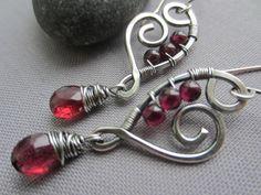 Silver+Wire+Earrings+with+Garnet/+Wire+Earrings/+Garnet+by+mese9,+$35.00