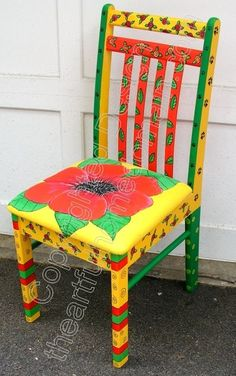 Funky+Hand+Painted+Furniture | Funky Hand Painted Furniture | ... hand painted chairs stools benches ...