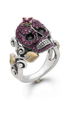 Zen Garden Skull Ring – Pink Tourmaline & Amethyst – Barbara Bixby -- I REALLY LOVE Barbara Bixby's Skull collection.