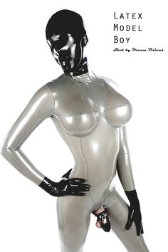 Bdsm latex catsuited boy