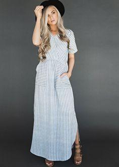 Stripe Maxi Day Dress, womens fashion, style, fashion, maxi, maxi dress, dress, spring, summer, jessakae, blonde, hai